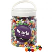 Pony Beads, D: 10 mm, hole size 4,5 mm, assorted colours, 700 ml/ 1 tub, 430 g