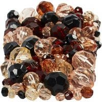 Faceted Bead Mix, size 4-12 mm, hole size 1-2,5 mm, golden, 250 g/ 1 pack