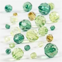 Faceted Bead Mix, size 4-12 mm, hole size 1-2,5 mm, green glitter, 45 g/ 1 pack