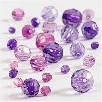 Faceted Bead Mix, size 4-12 mm, hole size 1-2,5 mm, purple, 45 g/ 1 pack