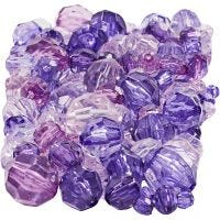 Faceted Bead Mix, size 4-12 mm, hole size 1-2,5 mm, purple, 250 g/ 1 pack