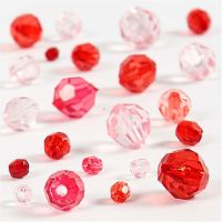 Faceted Bead Mix, size 4-12 mm, hole size 1-2,5 mm, red harmony, 45 g/ 1 pack