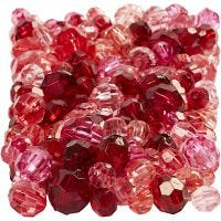 Faceted Bead Mix, size 4-12 mm, hole size 1-2,5 mm, red harmony, 250 g/ 1 pack