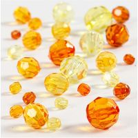 Faceted Bead Mix, size 4-12 mm, hole size 1-2,5 mm, yellow, 45 g/ 1 pack