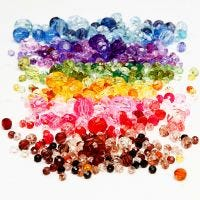 Faceted Bead Mix, D: 4-12 mm, hole size 1-2,5 mm, assorted colours, 7x250 g/ 1 pack