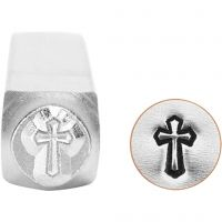 Embossing Stamp, Cross, L: 65 mm, size 6 mm, 1 pc