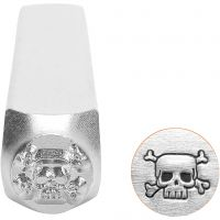 Embossing Stamp, Scull, L: 65 mm, size 6 mm, 1 pc