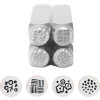 Embossing Stamps, Graphic pattern 1, L: 65 mm, size 6 mm, 4 pc/ 1 set