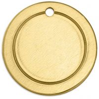 Metal Tag, Ring, D: 20 mm, hole size 1,85 mm, thickness 1 mm, brass, 6 pc/ 1 pack