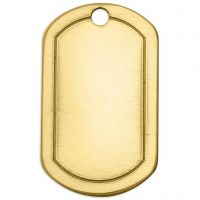 Metal Tag, Square, size 32x20 mm, hole size 2,85 mm, thickness 1 mm, brass, 4 pc/ 1 pack