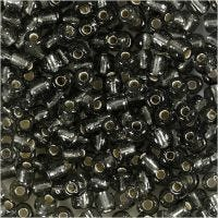 Rocaille Seed Beads, D: 4 mm, size 6/0 , hole size 0,9-1,2 mm, clear grey, 25 g/ 1 pack