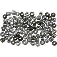 Rocaille Seed Beads, D: 4 mm, size 6/0 , hole size 0,9-1,2 mm, clear grey, 500 g/ 1 pack
