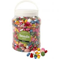 Wooden Beads, size 5-28 mm, hole size 2,5-3 mm, assorted colours, 2 L/ 1 bucket, 850 g