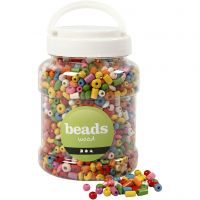 Wooden Beads, D: 5-8 mm, hole size 1,5 mm, assorted colours, 400 ml/ 1 bucket, 175 g