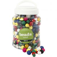 Wooden Beads, D: 8+10+12 mm, hole size 2-2,5 mm, assorted colours, 400 ml/ 1 bucket, 175 g