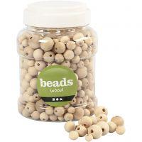 Wooden Beads, D: 8+10+12+15 mm, hole size 2-3 mm, 400 ml/ 1 bucket, 175 g