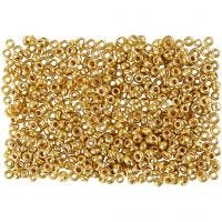 Rocaille Seed Beads, D: 1,7 mm, size 15/0 , hole size 0,5-0,8 mm, brass, 500 g/ 1 bag