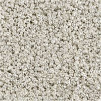 Rocaille Seed Beads, D: 1,7 mm, size 15/0 , hole size 0,5-0,8 mm, silver metal, 25 g/ 1 pack