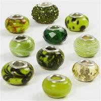 Glass Charm Beads, D: 13-15 mm, hole size 4,5-5 mm, green glitter, 10 asstd./ 1 pack