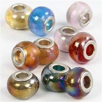 Glass Charm Beads, D: 13-15 mm, hole size 4,5-5 mm, 10 asstd./ 1 pack