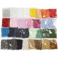 Rocaille Seed Beads, D: 1,7+3+4 mm, size 6/0+8/0+15/0 , hole size 0,5-1,2 mm, 32x100 g/ 1 pack