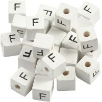 Letter Bead, F, size 8x8 mm, hole size 3 mm, white, 25 pc/ 1 pack