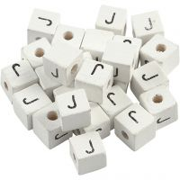 Letter Bead, J, size 8x8 mm, hole size 3 mm, white, 25 pc/ 1 pack