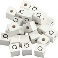 Letter Bead, Q, size 8x8 mm, hole size 3 mm, white, 25 pc/ 1 pack