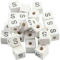 Letter Bead, S, size 8x8 mm, hole size 3 mm, white, 25 pc/ 1 pack