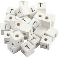 Letter Bead, T, size 8x8 mm, hole size 3 mm, white, 25 pc/ 1 pack