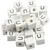 Letter Bead, U, size 8x8 mm, hole size 3 mm, white, 25 pc/ 1 pack