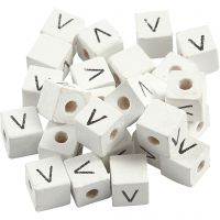 Letter Bead, V, size 8x8 mm, hole size 3 mm, white, 25 pc/ 1 pack