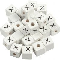 Letter Bead, X, size 8x8 mm, hole size 3 mm, white, 25 pc/ 1 pack