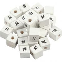 Sign Bead, #, size 8x8 mm, hole size 3 mm, white, 25 pc/ 1 pack