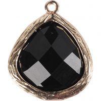 Jewellery Pendant, size 15x18 mm, hole size 1 mm, black, 1 pc