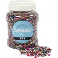 Bead Mix, L: 6 mm, D: 1,5-2 mm, hole size 1 mm, metallic colours, 520 g/ 1 tub