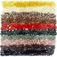 Plastic Beads, D: 6 mm, hole size 1,5 mm, assorted colours, 10x40 g/ 1 pack
