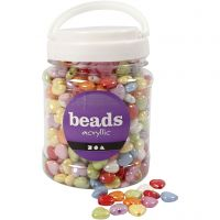 Heart Beads, size 15x15 mm, hole size 3 mm, assorted colours, 700 ml/ 1 tub, 465 g