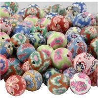 Clay Beads, D: 10 mm, hole size 1 mm, assorted colours, 200 asstd./ 1 pack