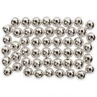 Wax Beads, D: 5 mm, hole size 0,7 mm, silver, 100 pc/ 1 pack