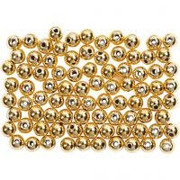 Wax Beads, D: 4 mm, hole size 0,7 mm, gold, 150 pc/ 1 pack