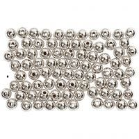 Wax Beads, D: 4 mm, hole size 0,7 mm, silver, 150 pc/ 1 pack