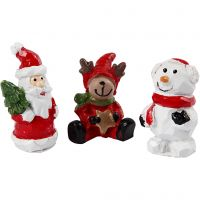 Miniature figurines, Santa, reindeer and snowman, H: 35 mm, L: 10 mm, 3 pc/ 1 pack