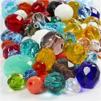 Faceted Bead Mix, size 3-15 mm, hole size 0,5-1,5 mm, assorted colours, 400 g/ 1 pack