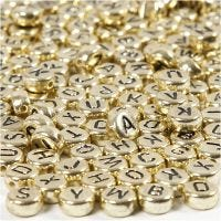 Letter Beads, D: 7 mm, hole size 1,2 mm, gold, 21 g/ 1 pack