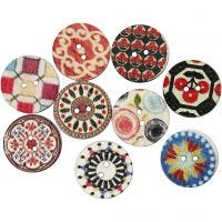 Wooden Buttons, D: 20 mm, 9 pc/ 1 pack
