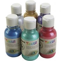 PRIMO metallic textile paint, assorted colours, 6x125 ml/ 1 pack