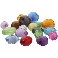 Acrylic faceted beads, size 8-20 mm, hole size 2-3 mm, assorted colours, 1000 g/ 1 pack