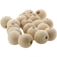 Wooden Bead, D: 10 mm, hole size 3 mm, 500 pc/ 1 pack