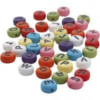 Round letter beads, D: 7 mm, hole size 1-2 mm, assorted colours, 25 g/ 1 pack